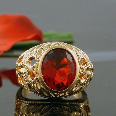 5 Carat Gold Ep Mens Simulated Oval Ruby Ring Size 8 9 10 11 12 13 Ebay