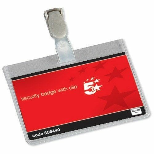 50 x Conference Visitor Name Badges Security Landscape with Plastic Clip 60x90mm