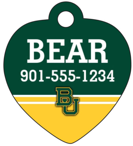 Baylor Bears Pet Id Tag for Dogs /& Cats Personalized w// Name /& Number