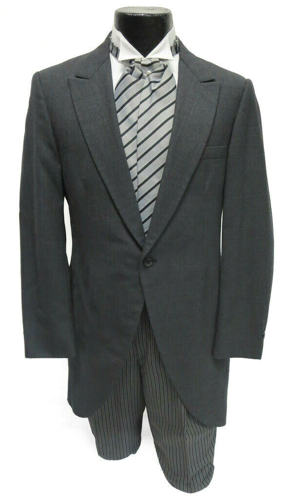 Men's Gray Cutaway Coat Frock Long Tails Morning Dress Wedding Victorian 36R