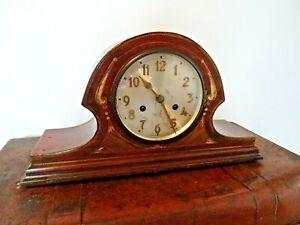Antique Early 20th Century Shell Inlay Mahogany 8 Day Chiming Mantel Clock (Key)