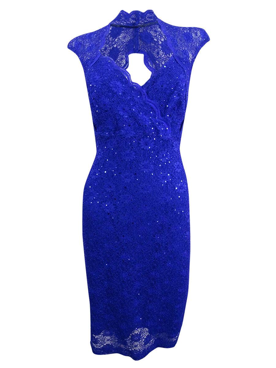 Connected Women's Lace Sweetheart Sheath Dress (6, Cobalt bluee)