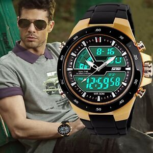 Men-039-s-Sport-Military-Digital-Big-Dial-Date-Chronograph-Analog-Resin-Wrist-Watch