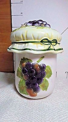 Jam Jar, With Lid, Purple Grapes On Top and Side, Yellow & White Jar