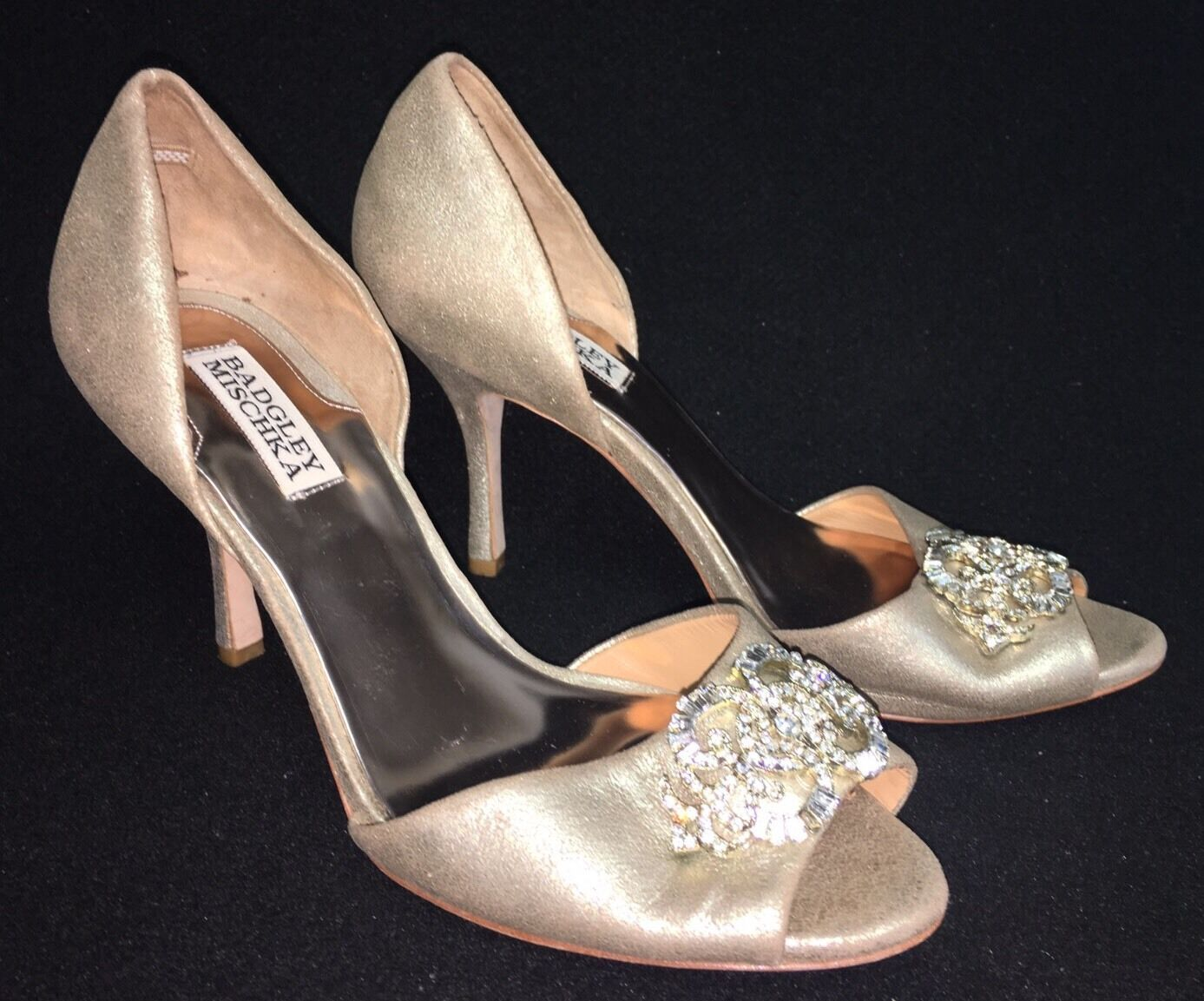 Badgley Mischka Salsa or Leather D'orsay Bridal Evening High Heel Pumps 7 9