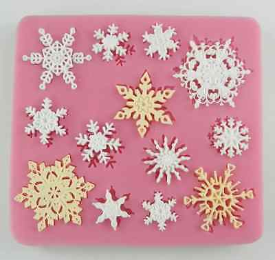Snowflakes silicone mold for fimo resin polymer clay fondant cake chocolate 045