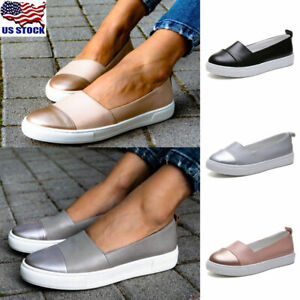 Womens-Leather-Loafers-Casual-Round-Toe-Flats-Ladies-Slip-On-Sneakers-Shoes-Size