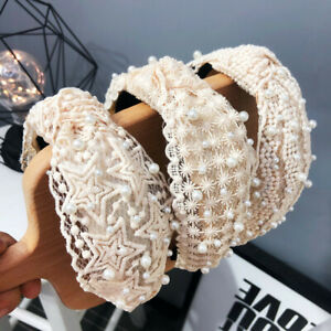 Women-039-s-Tie-Pearl-Headband-Hairband-Floral-Knot-Lace-Hair-Bands-Hoop-Accessor-SK