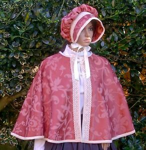 Ladies-Victorian-CAPE-costume-fancy-dress-UK-size-12-16-rust-colour