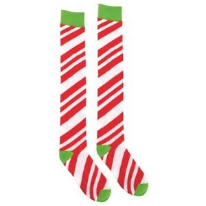CHRISTMAS-CANDY-STRIPES-ADULT-OVER-THE-KNEE-SOCKS-Holiday-Party-Supplies-Cane