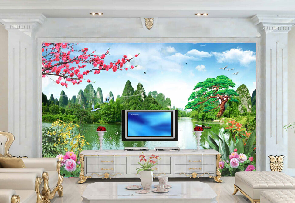 3D Mountain River Plum Paper Wall Print Decal Wall Wall Murals AJ WALLPAPER GB
