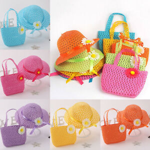 Lovely-Multi-Color-Sun-Hat-Summer-Girls-Kids-Straw-Beach-Flower-Bag-Tote-Handbag