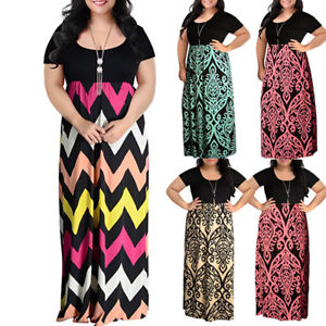 4b7b2bd7f5 Details about Women Chevron Print Summer O-Neck Short Sleeve Plus Size  Casual Long Maxi Dress