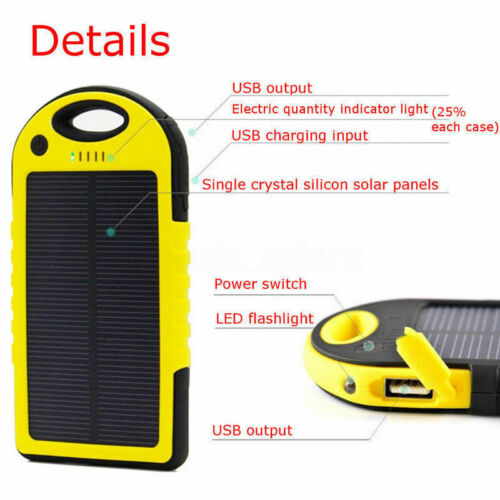 8000mAh Solar Power Bank 2 USB Mobile Phone Fast Battery Charger with LED Light