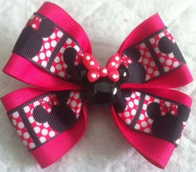 """Clip or Ponytail Girls Hair Bow 4/"""" Wide Minnie Mouse White and Pink Barrette"""