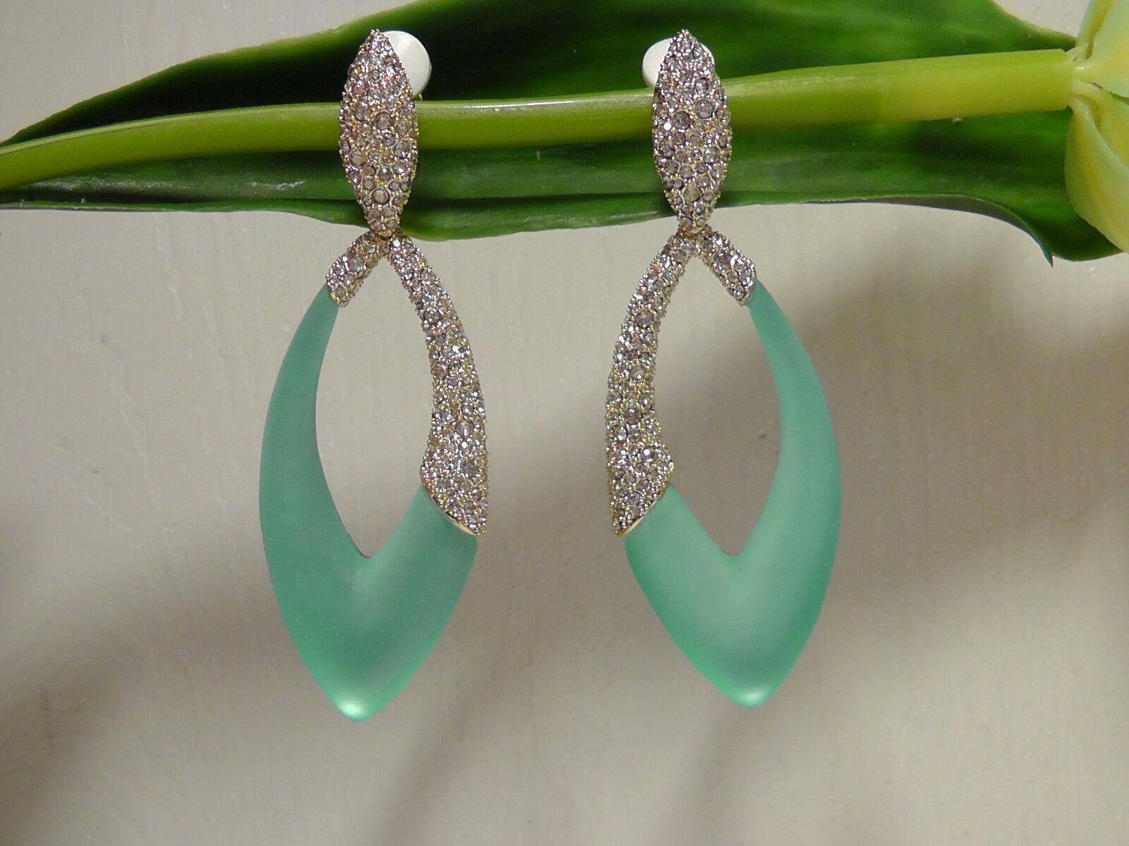 Alexis Bittar Vet D'Eau Aqua Opalecent Lucite Marquis Clip On Drop Earrings