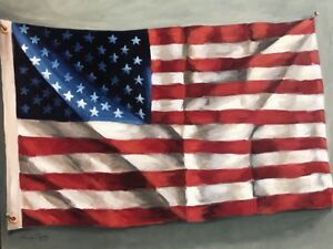 LOUISE-CARTTER-Noted-Artist-American-Flag-Original-Painting-On-Canvas