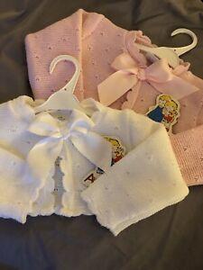 Espanol-de-punto-Jersey-bolero-cardigan-de-bebe-ninas-Rosa-Blanco-0-3-3-6-6-9-meses