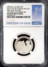 2017 S Proof Clad Douglass Quarter, NGC PF 69 Ultra Cameo, 1st Day of Issue!