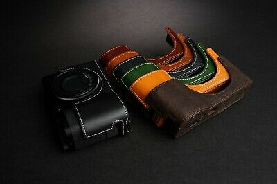 Handmade Genuine Real Leather Half Camera Case Bag Cover for Ricoh GR III GR3 Rufous Color