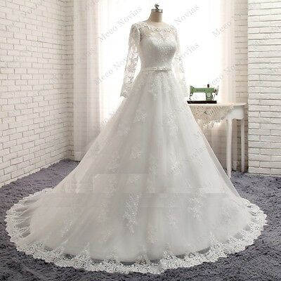 New 2017 Luxury Long Sleeve A line Laced Wedding Dress Fancy Bridal Gown 8-30