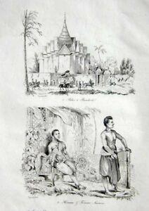 THAILAND-SIAM-VIEWS-COSTUMES-D-039-URVILLE-Original-1834-Antique-Prints-pair