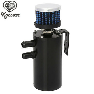 ALUMINUM OIL RESERVOIR CATCH CAN TANK WITH BREATHER FILTER BAFFLED BLACK