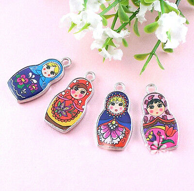 Wholesale 5Pcs Two-Sided Mixed Color Enamel Russian Doll Charm Pendant 4 Style