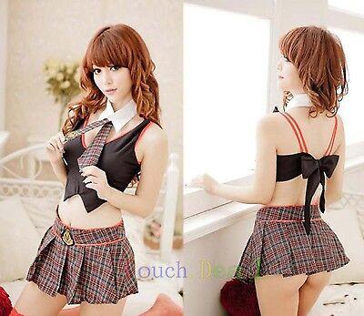 Sexy School Girl Costume Lingerie dress uniform Dress+Tie+top+neck+g string A5