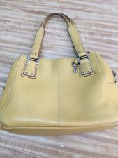 Fossil Brand Leather Purse Bag Tote. Yellow