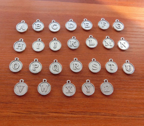 26pcs A-Z Mini Earring Letter Alphabet 12mm Round Charms Pendants Findings