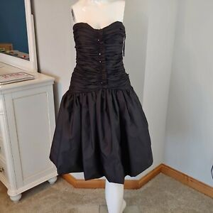Vintage-Womens-Victor-Costa-formal-dress-no-size-strapless-black