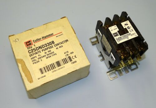 30 Amps 3 pole C25DND330B 208-240 V AC NEW USA Made Cutler-Hammer Contactor