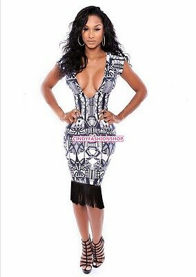 Women Sexy Deep V-Neck Bandage Bodycon Backless Evening Party Clubwear Dress