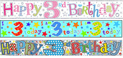 Blue Boy HAPPY 3rd BIRTHDAY 3 Today Holographic Party Plastic Banner Decoration