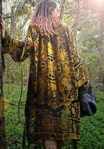 bohemian women Boho Kimono velvet Green Gypsy Fringe gold Kimono Floral Kimono
