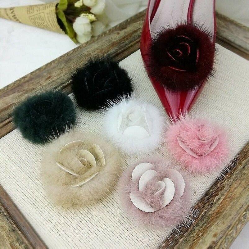 1 Pair Mink Fur Pompom Shoe Clips Fluffy Ornament Shape of Rose Heel Boot Decor