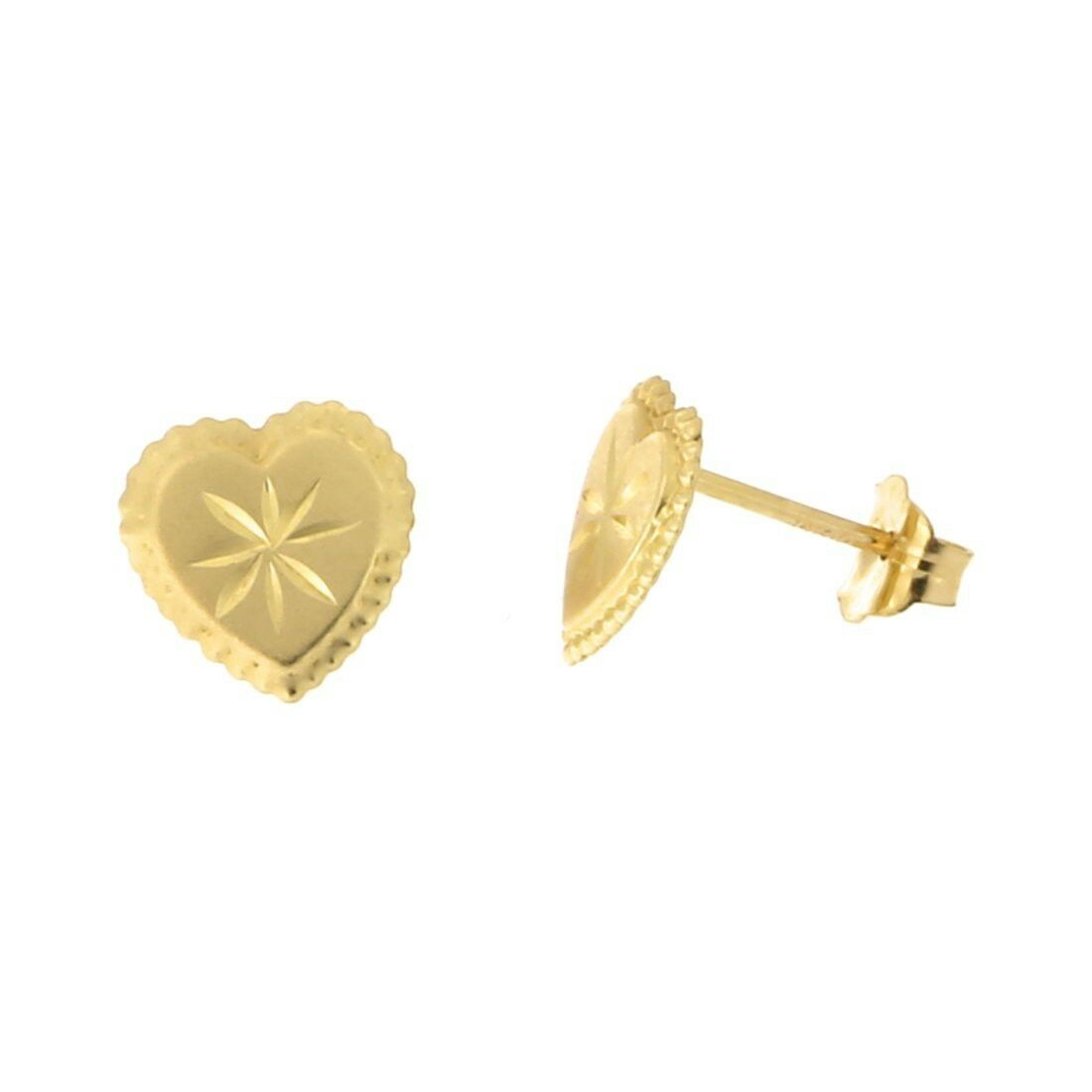 14k Yellow gold Diamond Cut Heart with Scalloped Edge Stud Earrings