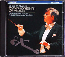Christoph von DOHNANYI Signiert BRAHMS Symphony 1 Cleveland TELDEC CD Sinfonie