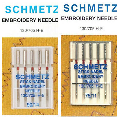 5/Stick embroidery 130//705,/H-E Schmetz Sewing Machine Needles 75