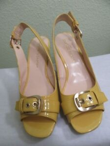 c42c1654dc3 FRANCO SARTO WOMEN S YELLOW PATENT LEATHER CORK WEDGE SANDALS SHOES ...