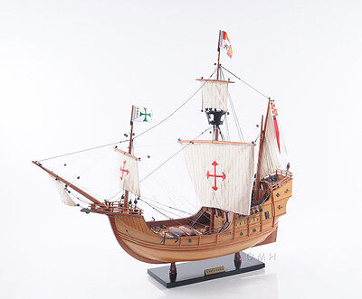 "La Santa María 1492 Tall Ship Wooden Model 29"" Christopher Columbus Flagship"