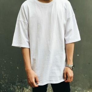 Unisex-Pus-Size-T-shirt-Asymmetry-Hem-Hip-Hop-Drop-Shoulder-Half-Sleeve-Tee-Top