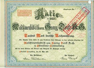 !! Maschinenfabrik Vorm. Georg Dorst 1921 !!top Deko!!