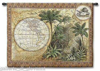 """Global Safari Old World Map Wall Tapestry  W/ ROD  53""""x43"""" Antique Vintage"""