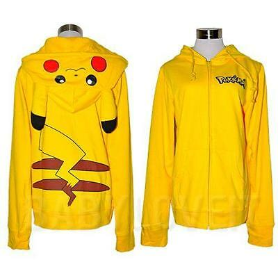 Pikachu Ears Face Tail Zip Hoody Sweatshirt Hoodie Costume New Japan Pokemon