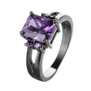 Fashion-Amethyst-Ring-Women-039-s-10KT-Black-Gold-Wedding-Band-Size-6-11