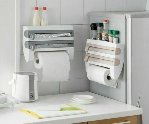 Kitchen Refrigerator Cling Film Storage Cutting Rack Wrap Cutter Tin Foils Paper