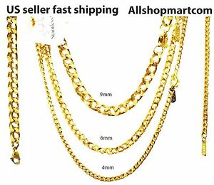 Chain Necklace Bracelet 18 k gold plated Link Curb Cuban 4,6,9mm 7-36 Mens