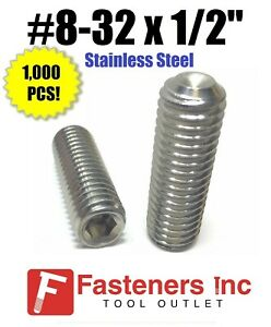 """#8-32 x 1/"""" Stainless Steel Socket Set Screw Cup Point Qty 1000"""